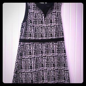 A line black and white dress